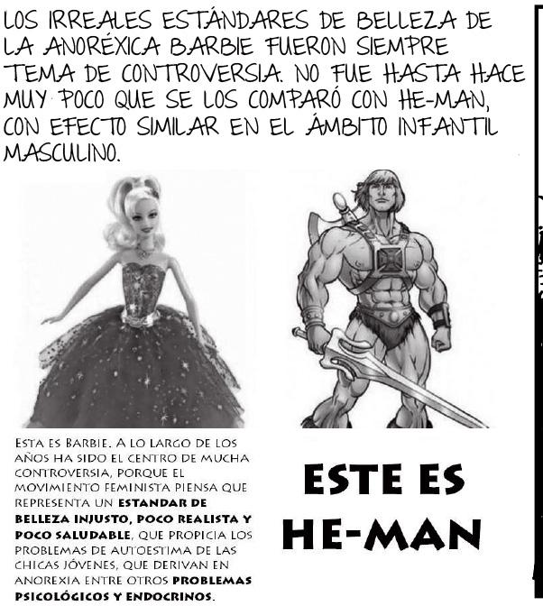 un meme que ilustra las diferencias entre barbie y he-man